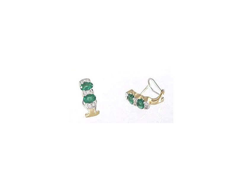 18CT YELLOW AND WHITE GOLD, EMERALD & DIAMOND CLIP EARRINGS. 0.24CTS DIA.TOTAL