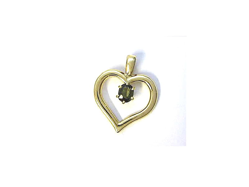 18CT YELLOW GOLD, GREEN SAPPHIRE HEART PENDANT