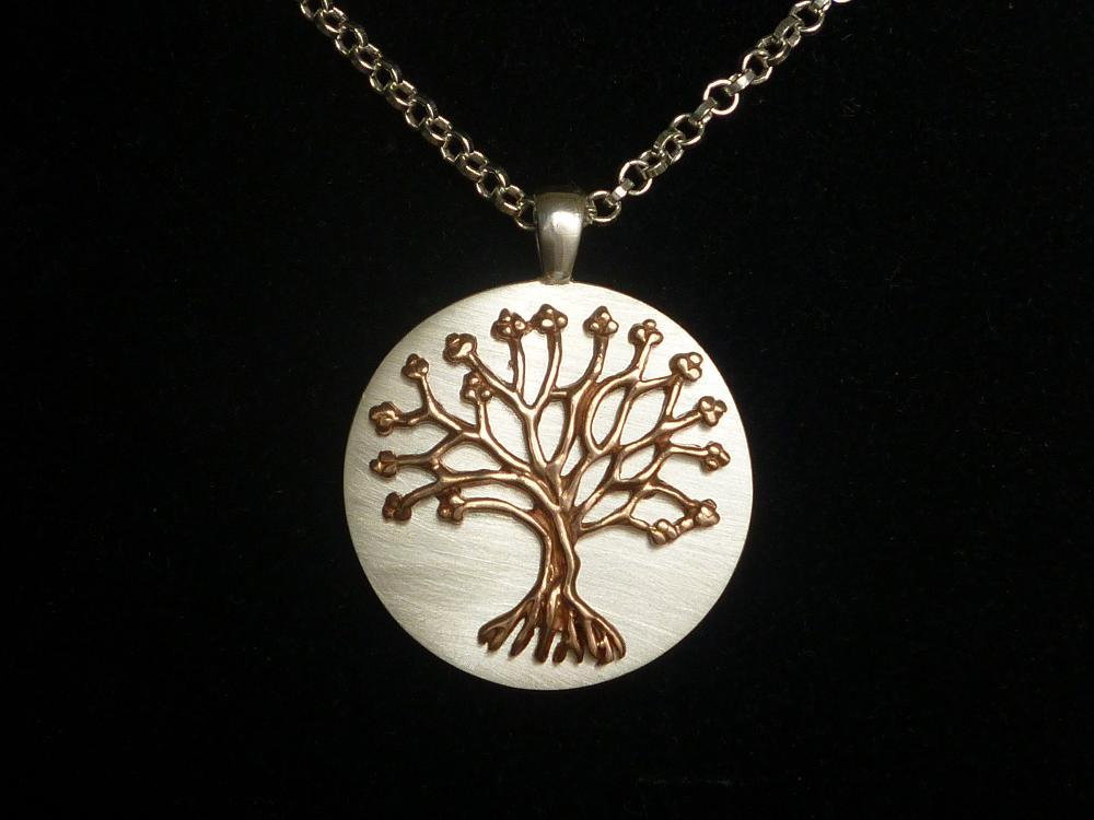 ROSE GOLD FINISHED 'TREE OF LIFE' ON A SATIN SILVER DISC localhost/grsjewelelNECKLACE