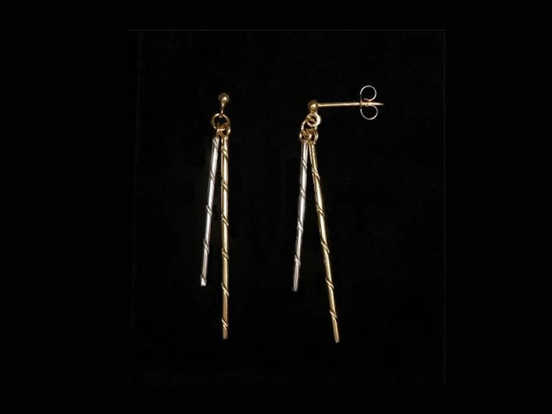 9CT YELLOW & WHITE GOLD, SPIRAL DROP EARRINGS