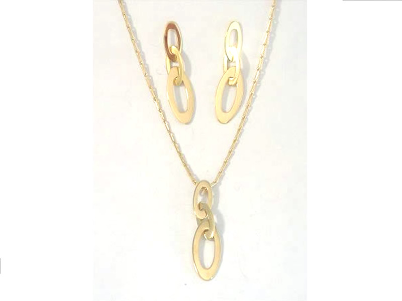 9CT YELLOW GOLD, MATCHING DROP EARRINGS & PENDANT NECKLACE