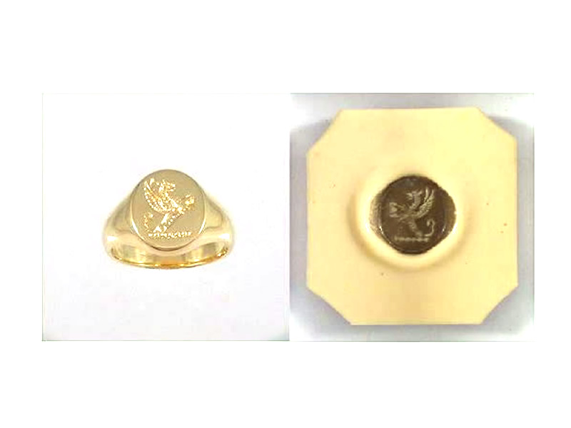 9CT YELLOW GOLD, SEAL SIGNET RING, & WAX IMPRESSION