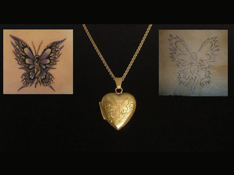 ADAPTED TATTOO DESIGN, ENGRAVED ON A 9CT GOLD LOCKET
