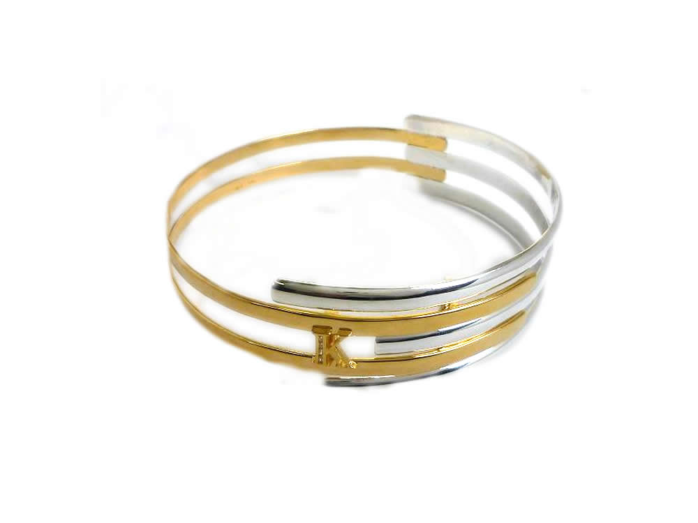SILVER, POLISHED AND GOLD PLATED, MULTI BAND SLAVE BANGLE