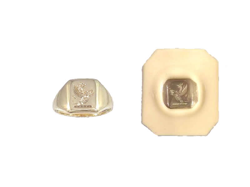 (12.2) 9CT YELLOW GOLD, RE-CUT SEAL SIGNET RING & WAX IMPRESSION