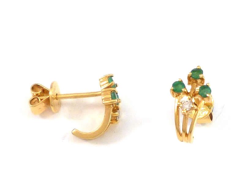 (13.1) 18CT GOLD, EMERALD AND DIAMOND FANCY EARSTUDS