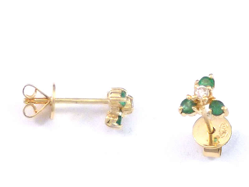 (13.2) 18CT GOLD, EMERALD AND DIAMOND EAR STUDS