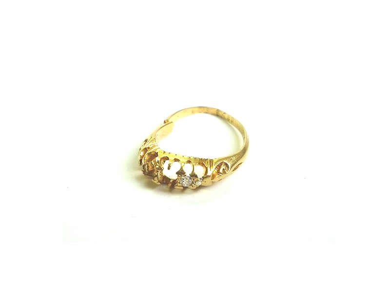 (14.1) 18CT YELLOW GOLD, DIAMOND SET RING