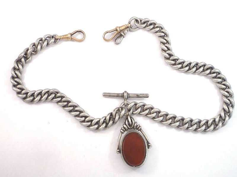 (16.1) SILVER AND 9CT CLASP, CORNELIAN SET FOB AND ALBERT CHAIN