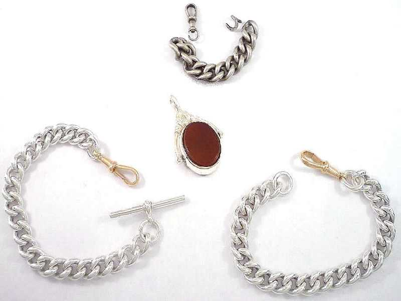 (16.2) SILVER AND 9CT CLASP, ALBERT BRACELETS