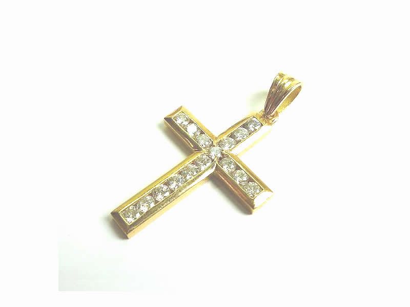 (2.2) 18CT YELLOW GOLD, DIAMOND CHANNEL SET, CROSS PENDANT