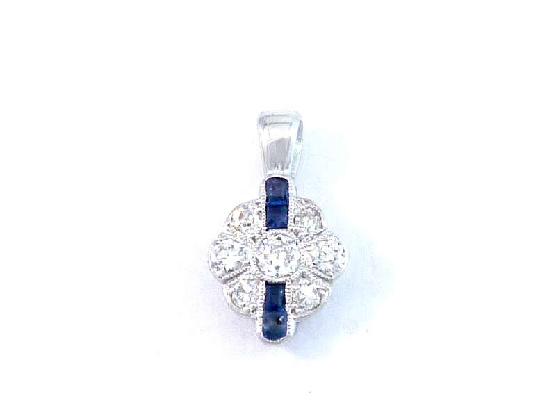 (3.1) 18CT WHITE GOLD, SAPPHIRE & DIAMOND SET PENDANT 2