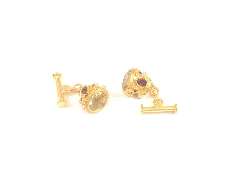 (3.2) GOLD PLATED SILVER, TOPAZ, GARNET AND AMETHYST SET CUFFLINKS 2
