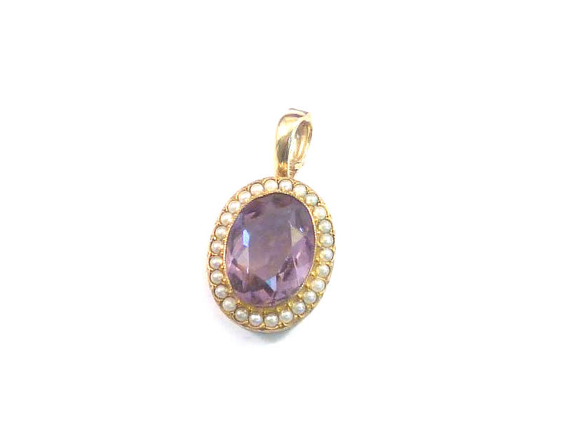 (4.1) 9CT GOLD, AMETHYST & HALF PEARL ANTIQUE PENDANT
