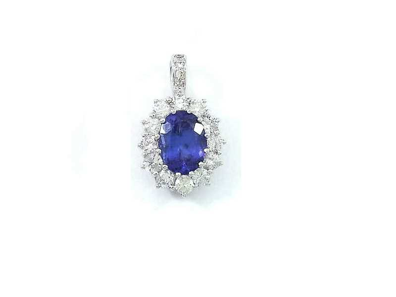 (5.2) 18CT WHITE GOLD, TANZANITE AND DIAMOND CLUSTER PENDANT 2