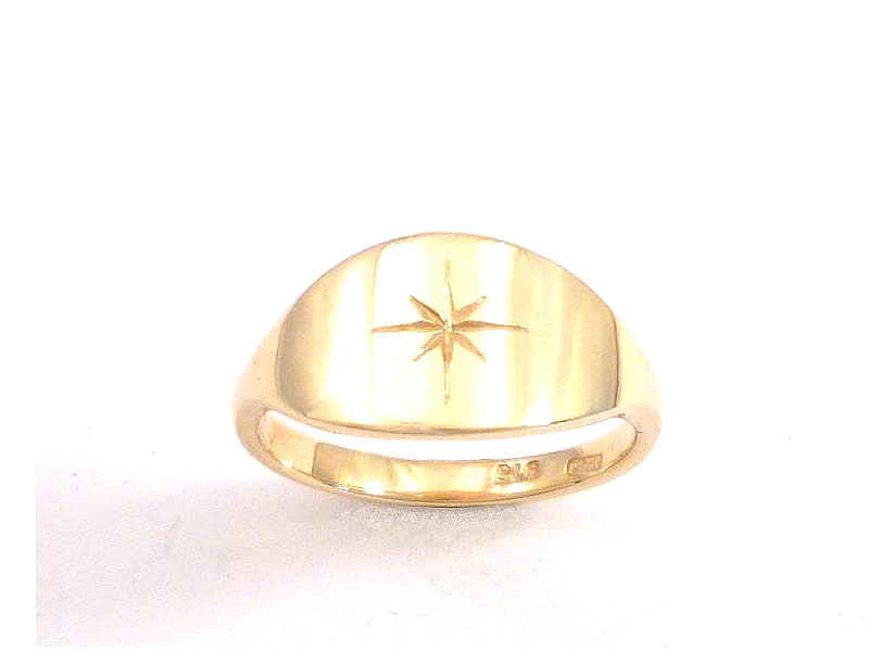 (6.2) 9CT GOLD, ENGRAVED LADIES SIGNET RING 2