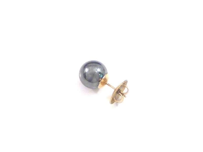 (7.1) 9CT GOLD, HAEMATITE EAR STUD