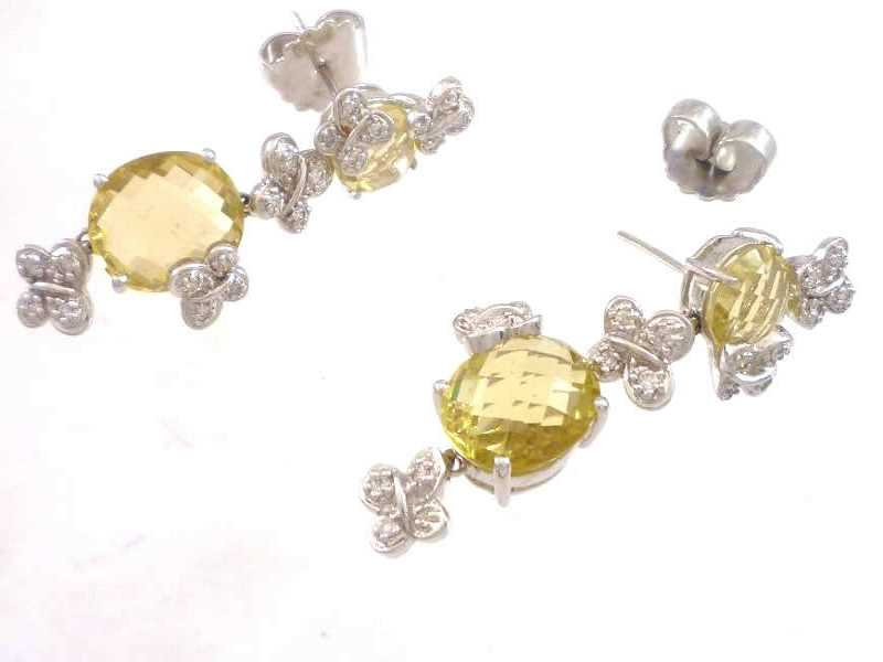 (9.1) 9CT WHITE GOLD, BUTTERFLY DESIGN, CITRINE AND DIAMOND SET, DROP EARRINGS