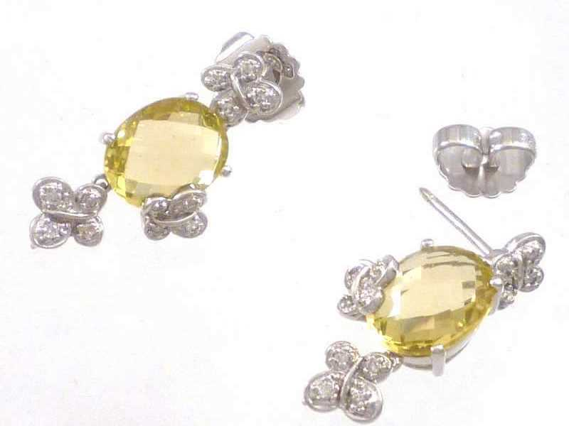 (9.2) 9CT WHITE GOLD, REDUCED BUTTERFLY DESIGN, CITRINE AND DIAMOND SET, DROP EARRINGS 2a