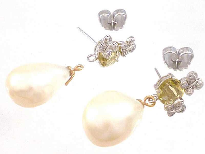 (9.3) 9CT WHITE GOLD, REDUCED BUTTERFLY DESIGN, CITRINE, DIAMOND SET & DETACHABLE PEARL DROP EARRINGS 2b