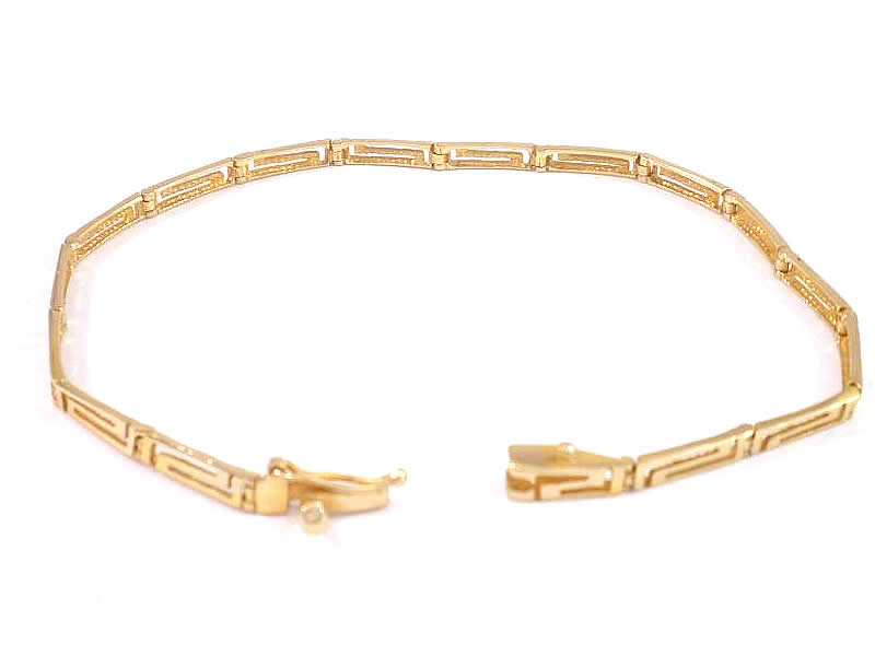 14CT GOLD, GREEK KEY DESIGN BRACELET (1)