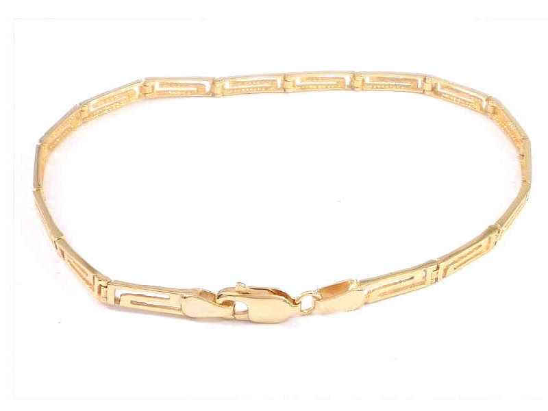 14CT GOLD, GREEK KEY DESIGN BRACELET, WITH ALTERNATIVE 9CT GOLD TRIGGER CLASP (2)