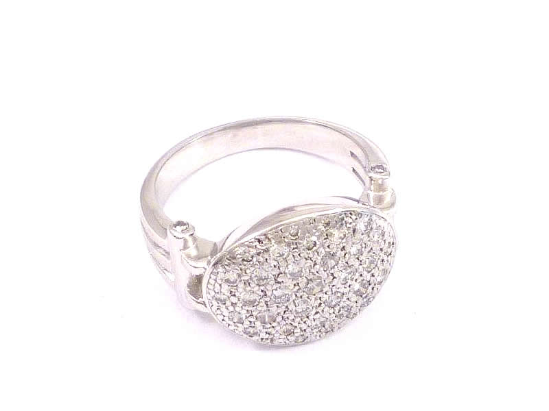 18CT WHITE GOLD, PAVE DIAMOND SET RING (2)
