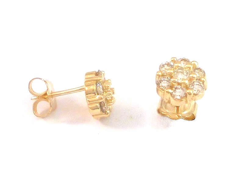 18CT YELLOW GOLD, DIAMOND CLUSTER EARSTUDS (2)