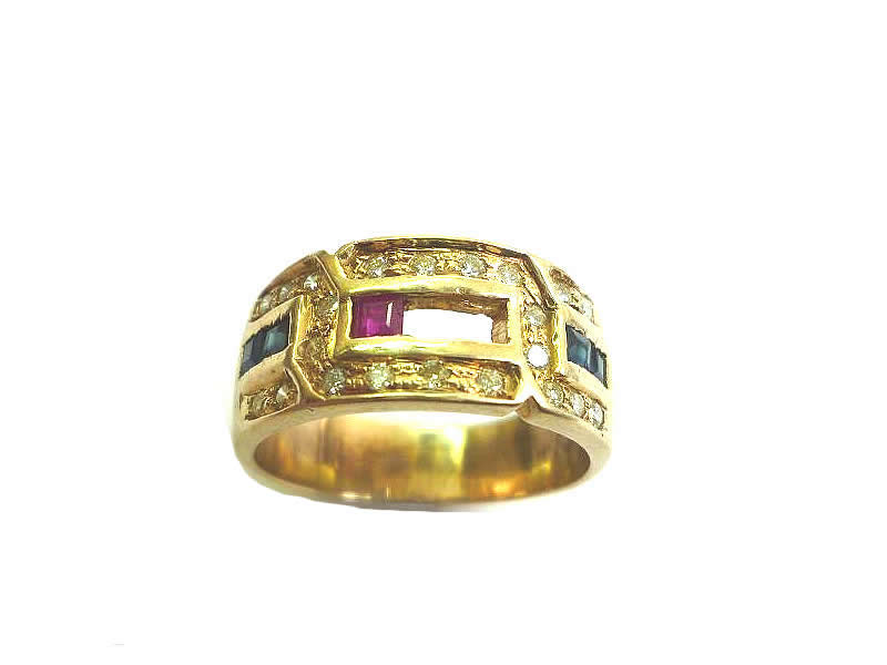 9CT GOLD, RUBY, SAPPHIRE AND DIAMOND SET RING (1)