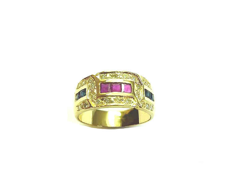 9CT GOLD, RUBY, SAPPHIRE AND DIAMOND SET RING (2)