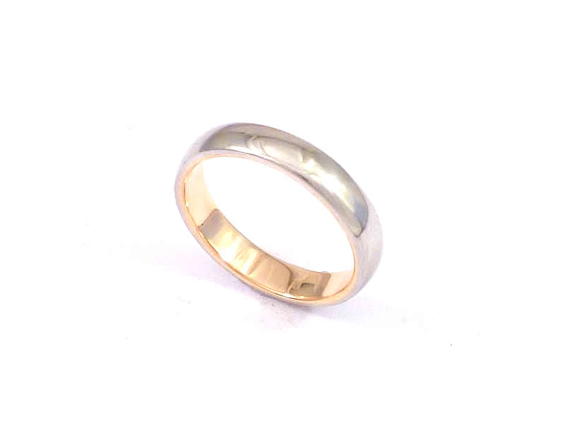 9CT ROSE GOLD WEDDING RING LINER, INSIDE A PLATINUM OUTER BAND (2)